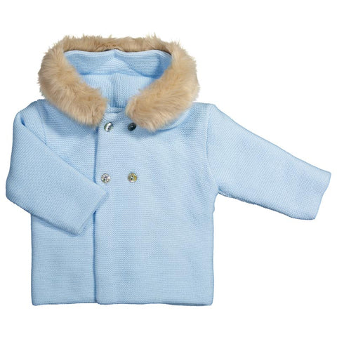 Mebi - Baby Blue Knitted Pram Coat with Fur Hood-Pram Coat-Sweet Peas Kidswear