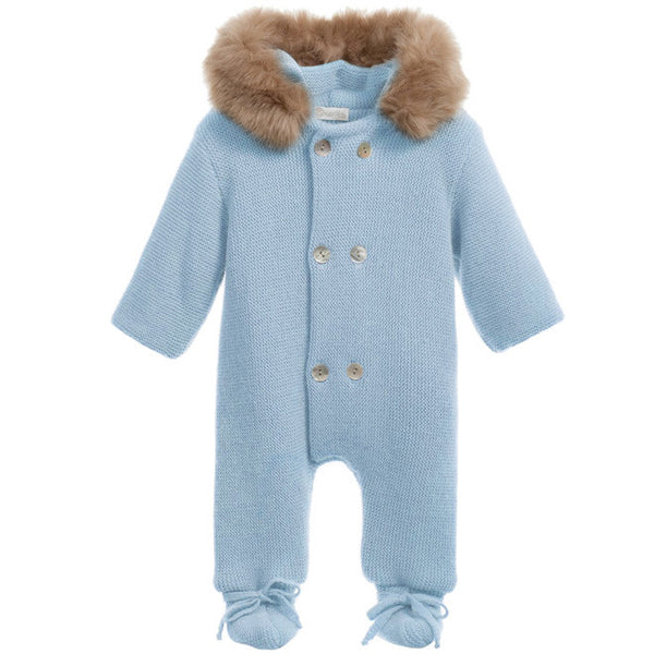 Mebi - Baby Blue Knitted Pramsuit with Fur Hood 1