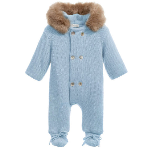 Mebi - Baby Blue Knitted Pramsuit with Fur Hood-Pramsuit-Sweet Peas Kidswear