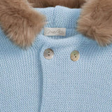 Mebi - Baby Blue Knitted Pramsuit with Fur Hood 4