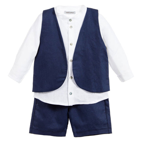 Mebi - Baby Boys Navy Blue Linen 3 Piece Shorts Set - Sweet Peas Kidswear  - 1
