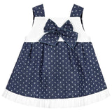 Mebi - Navy Blue and White Anchor Dress with Bow-Dress-Sweet Peas Kidswear