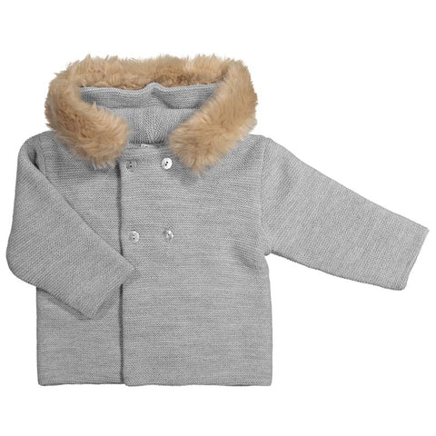 Mebi - Silver Grey Knitted Pram Coat with Fur Hood 1