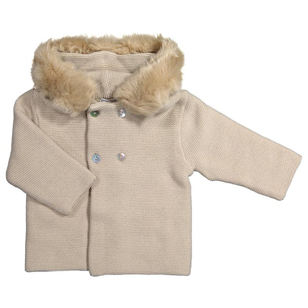 Mebi - Beige Knitted Pram Coat with Fur Hood-Pram Coat-Sweet Peas Kidswear