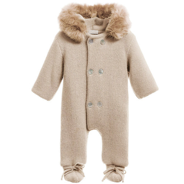 Mebi - Beige Knitted Pramsuit with Fur Hood-Pramsuit-Sweet Peas Kidswear