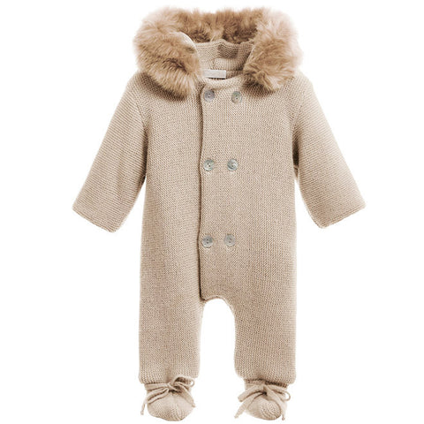 Mebi - Beige Knitted Pramsuit with Fur Hood 1