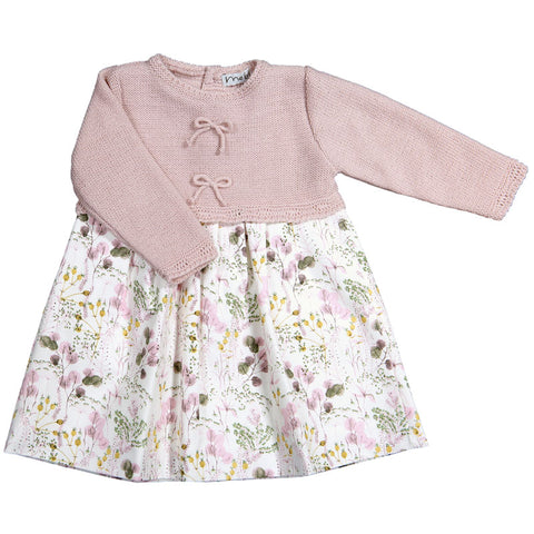 Mebi - Baby Girls Pink Knitted Floral Dress