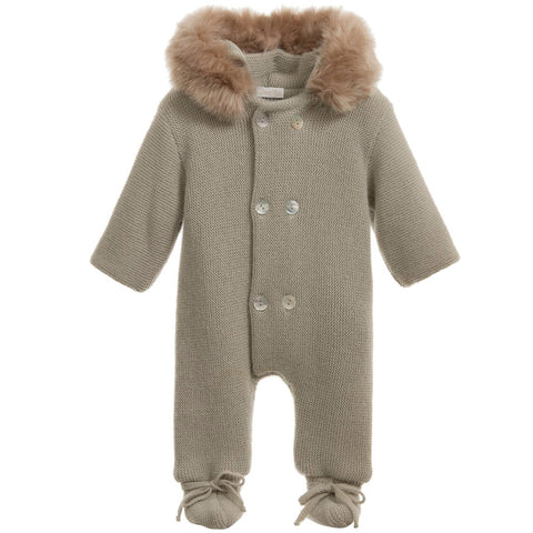 Mebi - Olive Knitted Pramsuit with Fur Hood-Pramsuit-Sweet Peas Kidswear