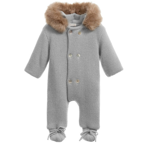 Mebi - Silver Grey Knitted Pramsuit with Fur Hood-Pramsuit-Sweet Peas Kidswear