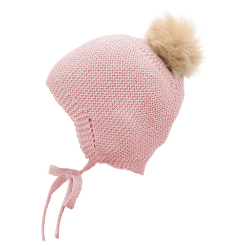 Mebi - Knitted Baby Hat with Fur Pom Pom in Baby Pink 1