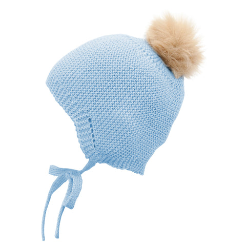 Mebi - Knitted Baby Hat with Fur Pom Pom in Baby Blue 1