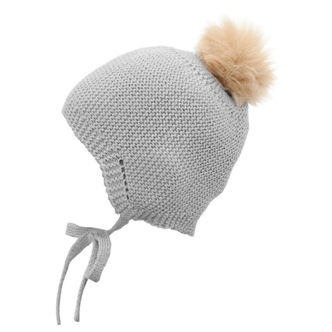 Mebi - Knitted Baby Hat with Fur Pom Pom in Grey 1
