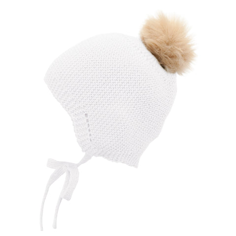 Mebi - Knitted Baby Hat with Fur Pom Pom in Winter White 1