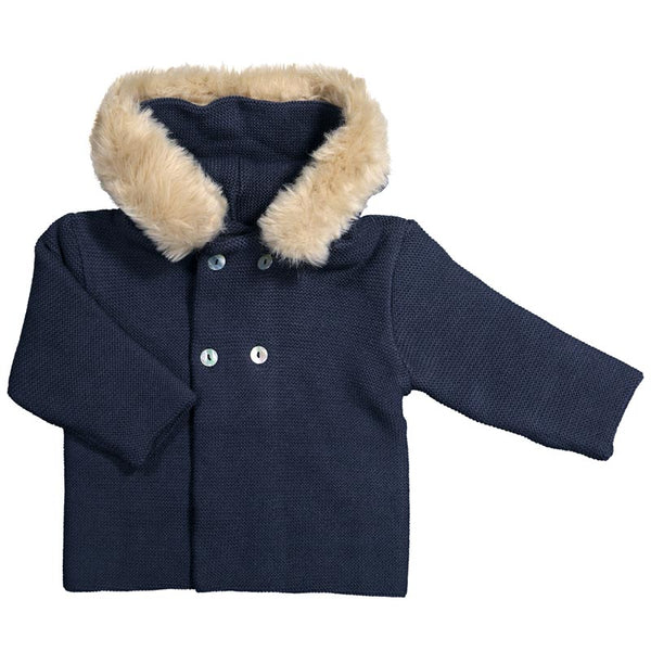 Mebi - Navy Knitted Pram Coat with Fur Hood-Pram Coat-Sweet Peas Kidswear