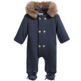 Mebi - Navy Knitted Pramsuit with Fur Hood-Pramsuit-Sweet Peas Kidswear