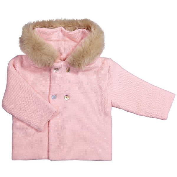 Mebi - Baby Pink Knitted Pram Coat with Fur Hood-Pram Coat-Sweet Peas Kidswear