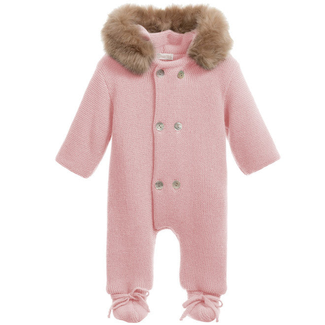 fd08b406e389 Mebi - Pink Knitted Pramsuit with Fur Hood