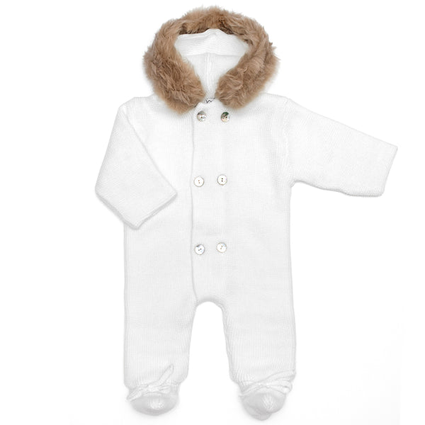 Mebi - White Knitted Pramsuit with Fur Hood-Pramsuit-Sweet Peas Kidswear