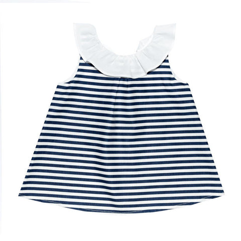 Mebi - Baby Girls Blue & White Striped Bow Dress-Dress-Sweet Peas Kidswear