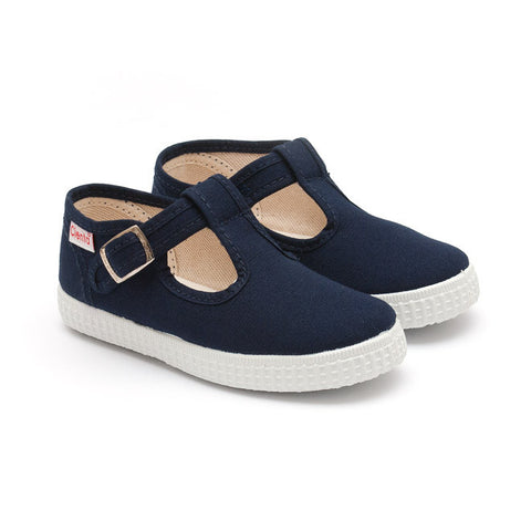 Cienta T-Bar Canvas Shoes - Navy-Canvas Shoes-Sweet Peas Kidswear
