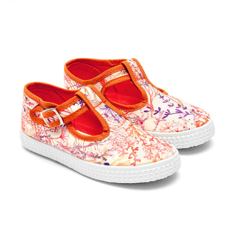 Cienta T-Bar Canvas Shoes - Orange Coral Print-Canvas Shoes-Sweet Peas Kidswear
