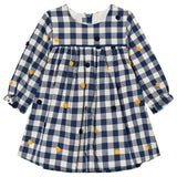 Absorba - Baby Girls Navy Check and Embroidered Detail Dress-Dress-Sweet Peas Kidswear