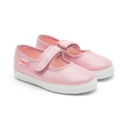 Cienta Mary Jane Style Canvas Shoes - Pink Glitter-Canvas Shoes-Sweet Peas Kidswear