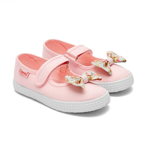 Cienta Mary Jane Style Canvas Shoes - Pink with Floral Bow Print-Canvas Shoes-Sweet Peas Kidswear