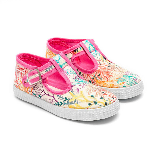 Cienta T-Bar Canvas Shoes - Pink Coral Print-Canvas Shoes-Sweet Peas Kidswear