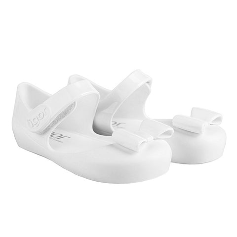 igor - 'Mia Lazo' White Bow Jelly Shoes-Jelly Shoe-Sweet Peas Kidswear
