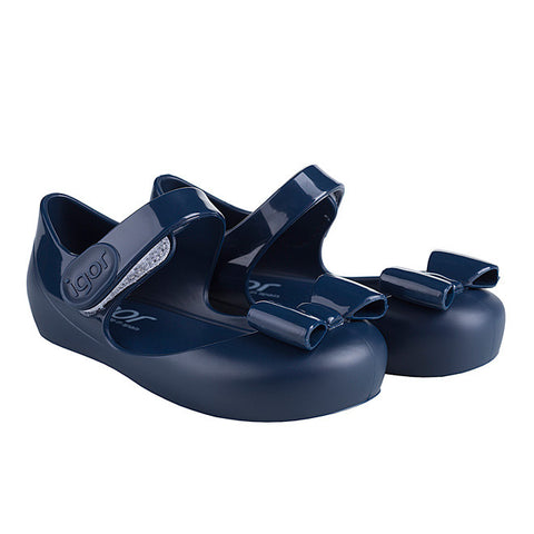 igor - 'Mia Lazo' Navy Bow Jelly Shoes-Jelly Shoe-Sweet Peas Kidswear