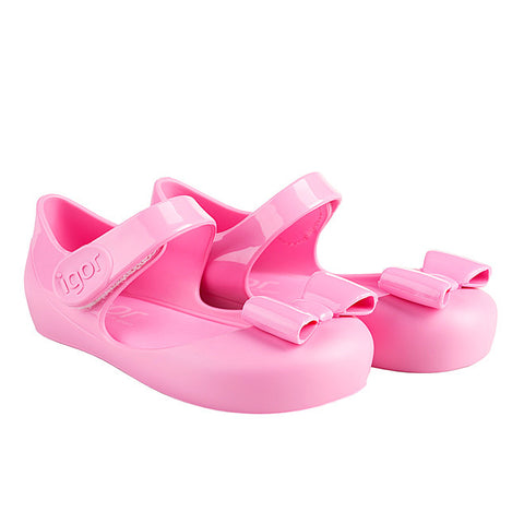 igor - 'Mia Lazo' Pink Bow Jelly Shoes-Jelly Shoe-Sweet Peas Kidswear