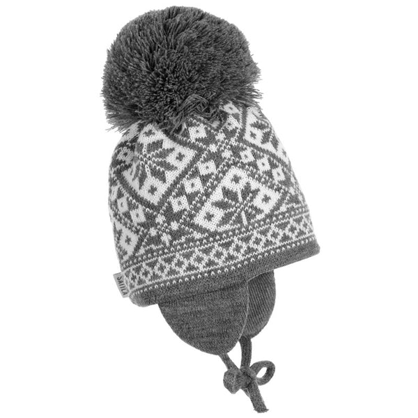 Satila of Sweden - Grey Fairisle Knitted Large Pom-Pom Hat-Hat-Sweet Peas Kidswear