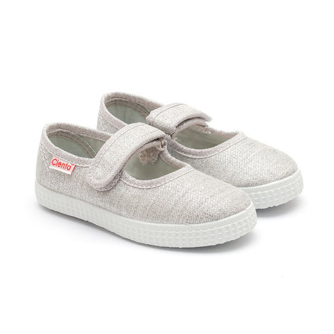 Cienta Mary Jane Style Canvas Shoes - Silver Glitter-Canvas Shoes-Sweet Peas Kidswear