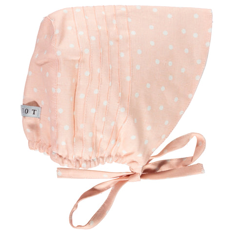 DOT - Salmon Pink and White Polka Dot Bonnet-Hat-Sweet Peas Kidswear