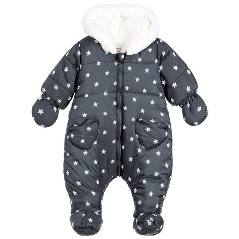 Absorba - Baby Girls Charcoal Grey Snowsuit-Pramsuit-Sweet Peas Kidswear