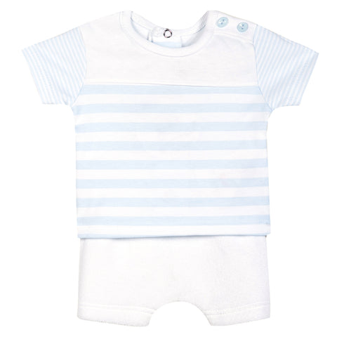 Absorba - Baby Boys Baby Blue Striped Shorts Set-Outfit Set-Sweet Peas Kidswear
