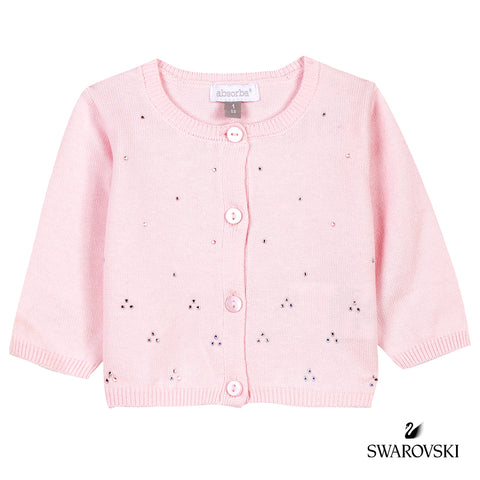 Absorba - Baby Girls Pink Cardigan With Swarovski Crystals-Cardigan-Sweet Peas Kidswear