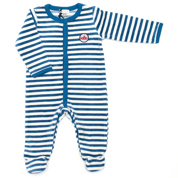 Absorba - Baby Boys Blue & White Babygrow-Baby Grow-Sweet Peas Kidswear