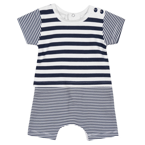 Absorba - Baby Boys Blue and White Striped Shortie