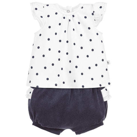 Absorba - Baby Girls Navy Spots Shorts Set
