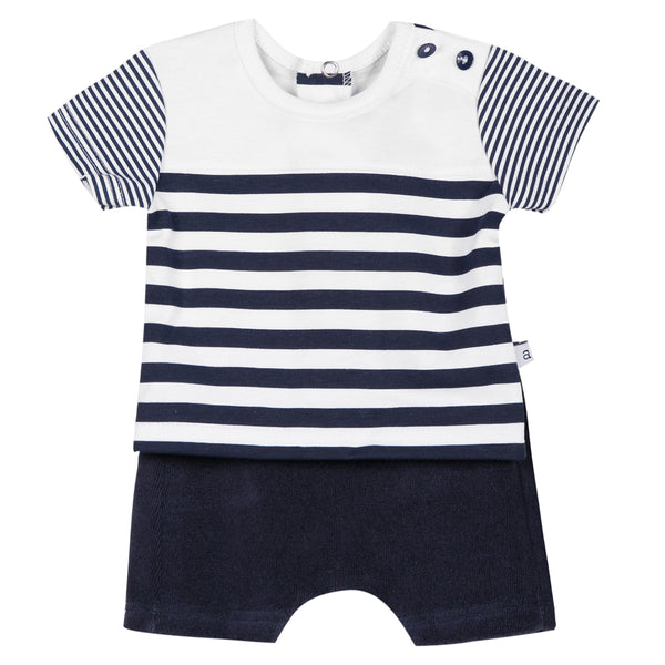 Absorba - Baby Boys Navy Striped Shorts Set-Outfit Set-Sweet Peas Kidswear