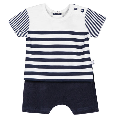 Absorba - Baby Boys Navy Striped Shorts Set