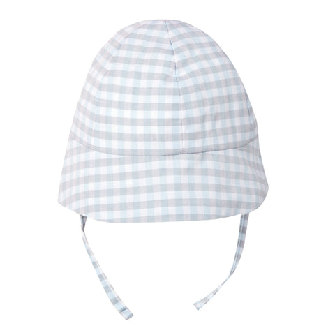 Absorba - Baby Boys Blue And Grey Check Sun Hat-Hat-Sweet Peas Kidswear