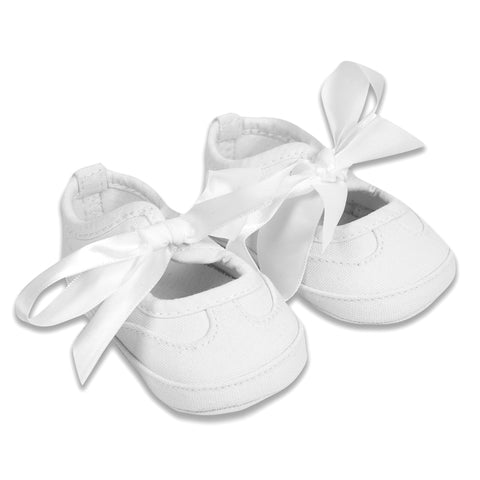 Absorba - Baby Girls White Canvas Pre-Walker Bow Pumps-Baby Pre-Walker Shoes-Sweet Peas Kidswear