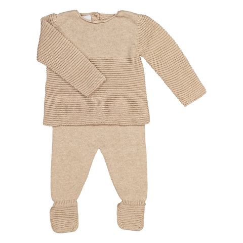 Babidu - Unisex Beige Knitted Two-Piece Outfit Set
