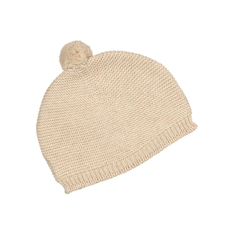 Babidu - Knitted Baby Hat with Knitted Pom Pom in Beige