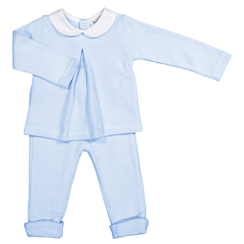 Babidu - Baby Blue Cotton Knit 2 Piece Set-Outfit Set-Sweet Peas Kidswear