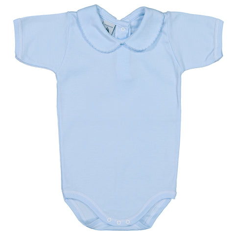 Babidu - Baby Blue Cotton Jersey Short Sleeved Bodyvest-Bodyvest-Sweet Peas Kidswear