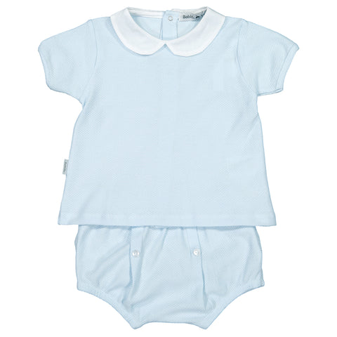 Babidu - Baby Blue Cotton 2 Piece Shorts Set